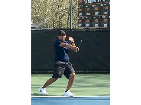 The Zebras top singles player, senior captain Antonio Pelaez gets his 'hit' on following Princeton's huge win over Dartmouth