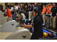 Preparing to throw another strike, Zaria Syfu zeros in on her target. (Photo courtesy of Rosalie Beirne.)