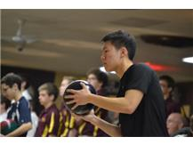 Junior Eric Tran gets ready to roll his ball down the lane. (Photo courtesy of Rosalie Beirne.)