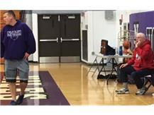 Don and Glenn Olson leading the Vikings in practice (Brent Schwartz/Medill News Service)