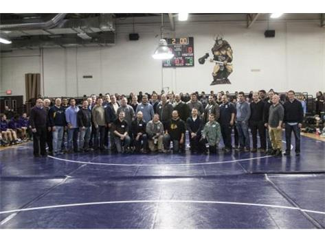 2015 Niles North Wrestling Alumni gathered to watch a CSL match-up versus Maine West.