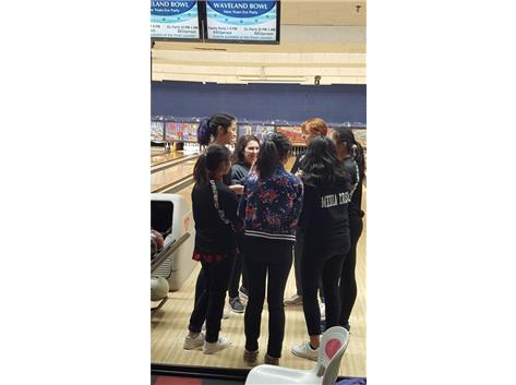The girls receive last minute pep talk from team captain Gabby Potempa before the action begins at the Mather Invite. The team eventually finished in 2nd Place.