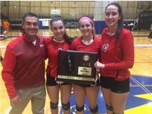 Dr. Ness and the varsity team captains pose with the 2016 Sectional Championship plaque.
