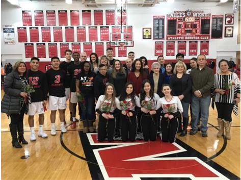 The 2018 seniors with their parents from boys' basketball and the competitive dance team. Congrats seniors!
