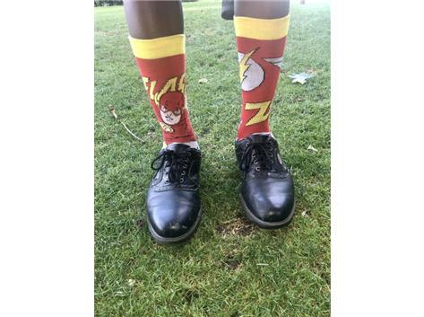 Freshman Judah Bempong brings out his lucky socks to an early season meet.