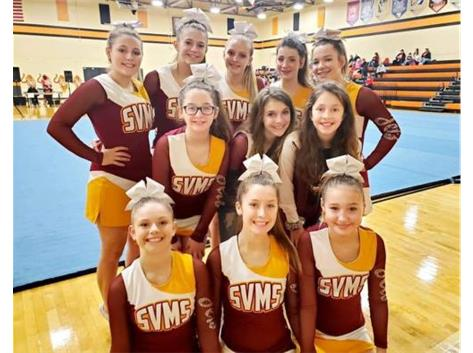 "South Vienna's MS Cheer squad qualified for the ""Best in State"" Competition and will compete at Ohio State on January 25th."