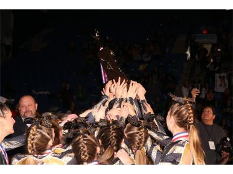 Varsity Cheer Excited to receive 3rd place State Trophy 2017