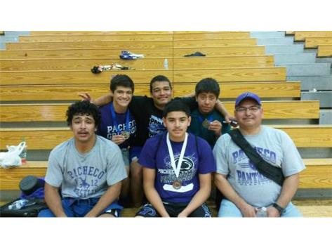 Placers at the Golden Valley Freestyle Tournament.  Coach Manuel, Erick R, Coach Singh, Cristian G, Javi G, Miguel R
