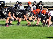 Freshman Football lining up against Coldwater