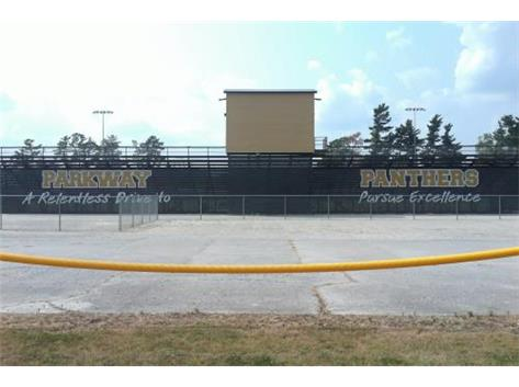 Athletic Boosters purchased the bleacher wrap at the football field