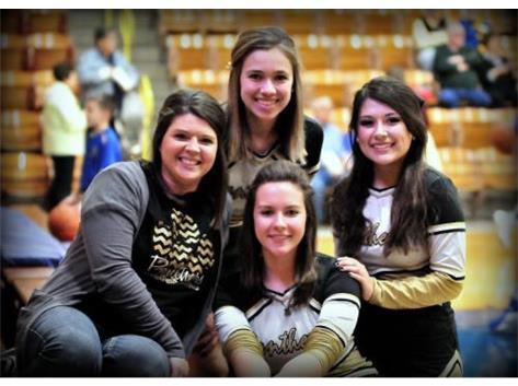Coach with some Varsity cheerleaders (Mandee Laura Allison Marisa)