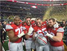 PHSC Alum Jacoby Boren (far right) and PHSN Alum Pat Elflein (second from right) celebrate as members of OSU's National Championship team Jan. 12, 2015.
