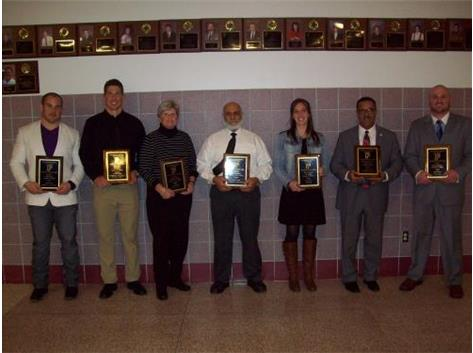 (l to r) 2015 Hall of Fame Inductees - Zach Boren, Brian Peters, Kitty McGrievy, Jack Johnson, Brittany Rings, Bill Henry (Stephanie Henry), A.J. Trapasso