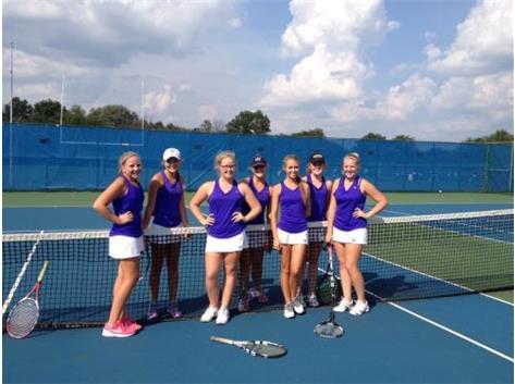2015 TIGER GIRLS TENNIS WINS CHAMPIONSHIP - UNDEFEATED IN OCC (l to r) Rachel Terbovich, Maddie Bechert, Sky Johnson, Jillian Stang, Jessie Weidner, Margaret Gordon, Sam Wurster