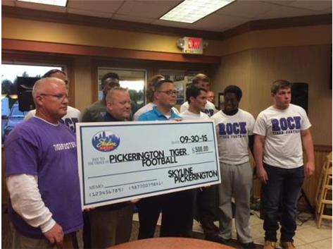 Skyline Chili donates $500 to Tiger Football as part of sponsorship of North-Central game. Thanks Skyline!