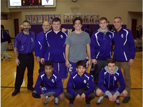 WRESTLING SENIOR NIGHT-Tigers over PHSN 48-23, 2/11/16. (Back l to r) Coach Jason Allen, Coach Allen, Patrick Randall, John Beaver, JoJo Terry, Coach Sasfy, (front l to r) Jared Jenkins, Vu Nguyen, Zach Kelly.