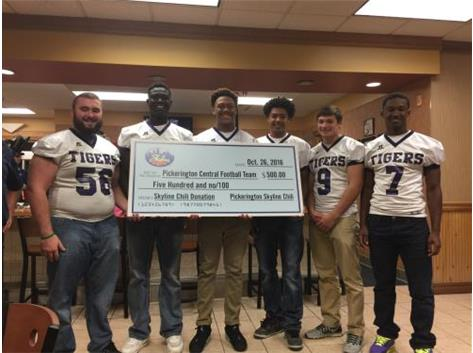 2016 SKYLINE CHILI PEP RALLY & DONATION Thanks to Pickerington Skyline for their continued support of Tiger Football!