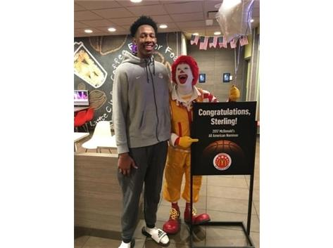 McDonald's of Pickerington honors Tiger Boys Basketball center Sterling Manley for being nominated for the All-American team.