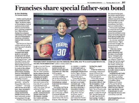 JEREMIAH AND COACH FRANCIS SUBJECT OF DISPATCH STORY