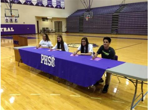 TIGERS SIGN NLI (l to r):Dalany Boykins - track - Wingate University, Olivia Chapman - cross country - Morehead State, Elizabeth Fee - basketball - Mt. Vernon Nazarene University, Jack Jaynes - cross country - Ohio University, Kallie Boren - softball - Ohio State University (not in photo)