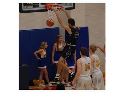 Eli with the Dunk in the Ohio Valley Hoops Game