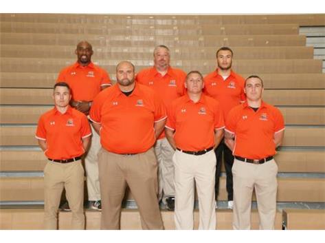 Varsity Football Coaches Front Row (L to R):  Dan Page, Brad Kunz, Adam O'Reel, Tyler Hill Back Row:  Walter Edwards, Matt Kee, Jake Mayon