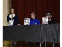 National Signing Day Lindsey Sykora (speaking) Augustana University - Lacrosse.       Cade Fink and Dylan Diorio in thought