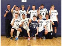 Coach Brian Zettergren with PSHS 1st place finishers at the Oswego JV Tournament on 5/17/2014
