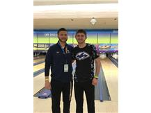 Coach Brian Zettergren and Christian Knowlton at Saint Clair Bowl in O'Fallon on 1-26-19. Christian finished 33rd in the State of Illinois