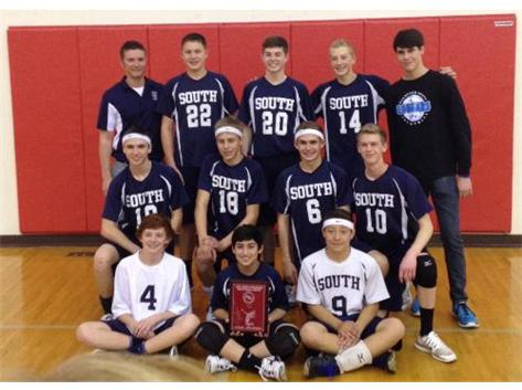 1st place finishers in the 2014 Plainfield North Volleyball Tournament.  Pictured Left to Right starting from the top:  Coach Brian Zettergren, Colin Turner, Mykell Wilke, Matt Friddle, Andrew Kubinski, Brandon Langys, Logan Nash, Hunter Marr, Tony Albertini, Andrew Colantone, Amaan Shah, and Ryan Shappa