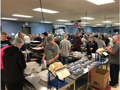 The PSHS Boys Bowling Team volunteering at Feed My Starving Children packing food bags for the less fortunate