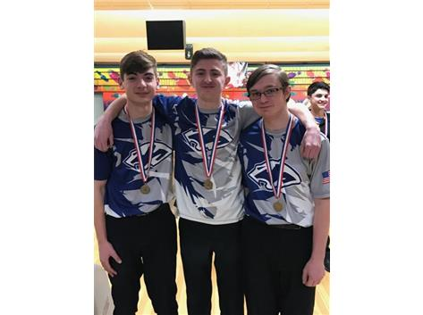 2017-2018 All-Conference Bowlers:  Cody Gleim, Christian Knowlton, and Austin Griffith.