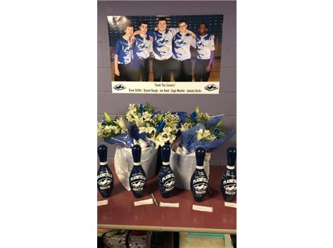 Senior Night 1-3-18. Seniors Joe Reed, Gage Moeller, Jawuan Burks, Bryant Baugh, and Drew Shiffer.