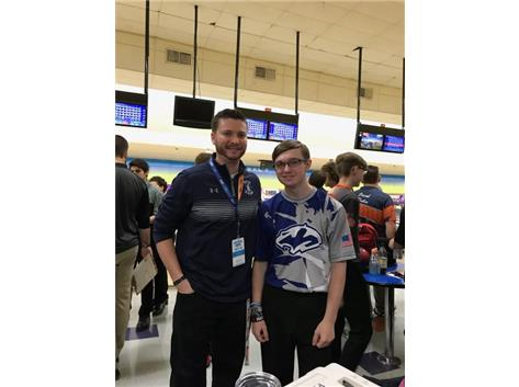 Coach Brian Zettergren and State Qualifier, Austin Griffith, at the 2018 IHSA State Tournament in O'Fallon, IL. Congratulations Austin in being ranked 25th it the State!