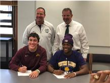 Mariano Sori-Marin and De'Shon Gavin sign their National Letter of Intent to Minnesota and Western Illinois.