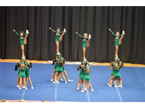2014 Varsity Cheer Team performing at Sectionals.