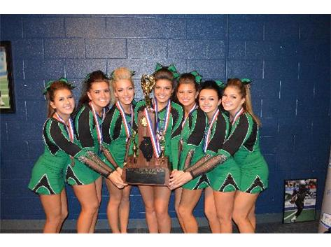 The Class of 2014 proudly displays their Third Place trophy at the IHSA State Cheerleading Championship.  Congrats, Celtics!