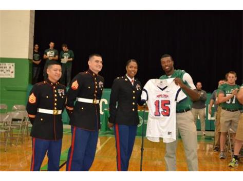 Miles Boykin receives Semper Fi All-American Game Jersey