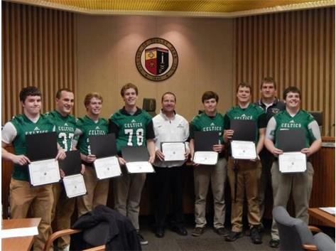 The State Champion Football Team was recognized by the Village of Tinley Park