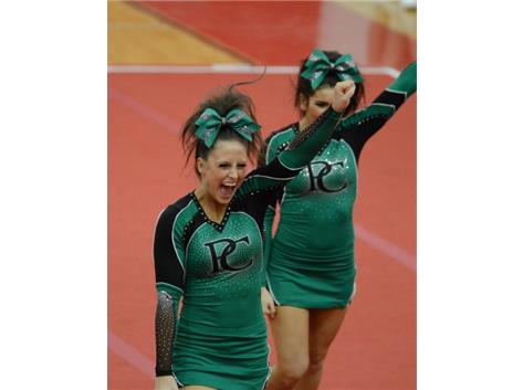 Sophomore, Natasha Tuminello, shows her Celtic spirit during the team's performance at the 2015 Niles West Competition.