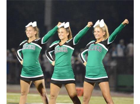 2015-16 Varsity cheerleaders perform during half-time on Aug. 28, 2015.