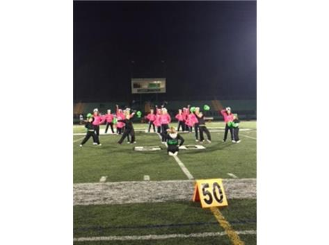 The cheer team from Down in the Southland hits the final pose of their half-time performance at the PC varsity football game.  October is Down Syndrome Inclusion Month.