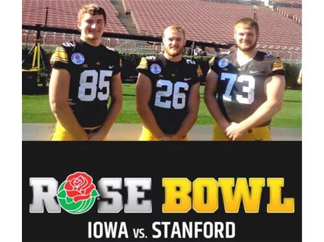 Alumni Ryan Ward, Kevin Ward and Nate Vejvoda at the Rose Bowl.