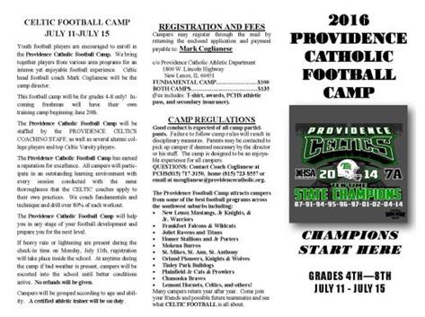 2016 Youth Football Camp Flyer Page 1
