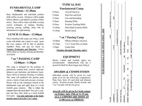 2016 Youth Football Camp Flyer Pg. 2