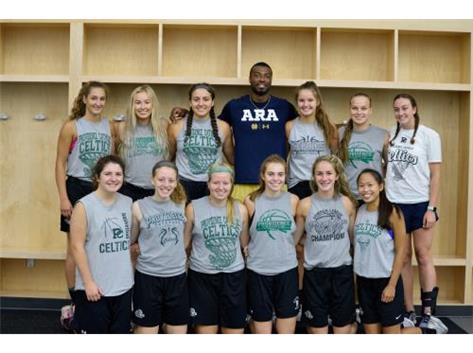 ND football receiver Miles Boykin (PC Alum) spends time with the Celtics at our shootout!