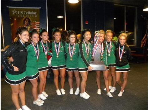 2012-13 The nine Celtic senior cheerleaders posing with their well-deserved State Champion trophy.