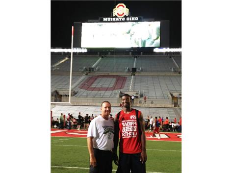"Pictured are Miles Boykin and Coach Cogs.  Miles was invited to attend the ""Friday Night Lights"" at Ohio State University.  This was for the top recruits across the country.   Miles is getting interest and offers from many D1 schools."