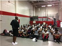 Former Panther Speaking to the Team
