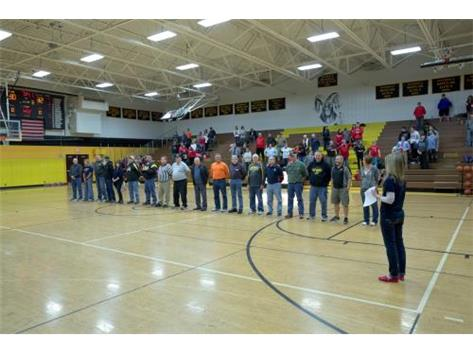 RHS recognized area veterans at our boys home game on 2/5/16.  Thank you for your service!